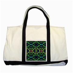 Cool Green Blue Yellow Design Two Tone Tote Bag  by Costasonlineshop