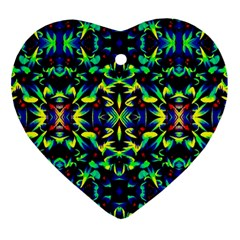 Cool Green Blue Yellow Design Heart Ornament (2 Sides) by Costasonlineshop