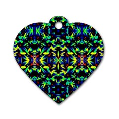 Cool Green Blue Yellow Design Dog Tag Heart (one Side)