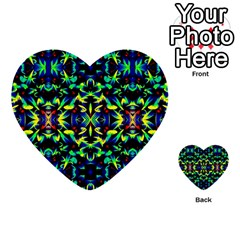 Cool Green Blue Yellow Design Multi Purpose Cards (heart)  by Costasonlineshop