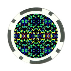 Cool Green Blue Yellow Design Poker Chip Card Guards (10 Pack)