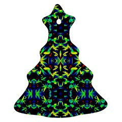 Cool Green Blue Yellow Design Christmas Tree Ornament (2 Sides)
