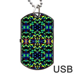 Cool Green Blue Yellow Design Dog Tag USB Flash (Two Sides)  by Costasonlineshop