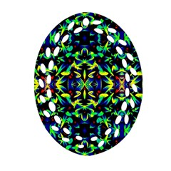 Cool Green Blue Yellow Design Oval Filigree Ornament (2 Side)  by Costasonlineshop