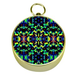 Cool Green Blue Yellow Design Gold Compasses by Costasonlineshop