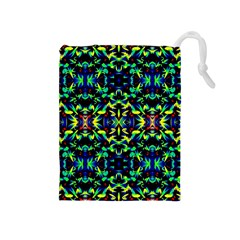 Cool Green Blue Yellow Design Drawstring Pouches (medium)