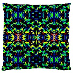 Cool Green Blue Yellow Design Large Flano Cushion Cases (one Side)  by Costasonlineshop