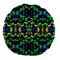 Cool Green Blue Yellow Design Large 18  Premium Flano Round Cushions by Costasonlineshop