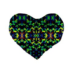 Cool Green Blue Yellow Design Standard 16  Premium Flano Heart Shape Cushions