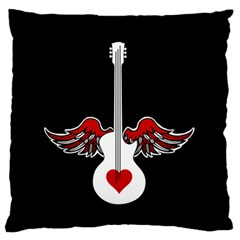 Flying Heart Guitar Large Flano Cushion Case (two Sides) by waywardmuse