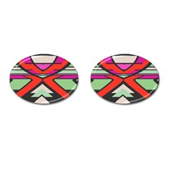 Shapes In Retro Colors			cufflinks (oval) by LalyLauraFLM