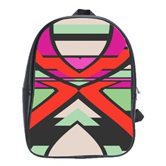 Shapes in retro colors			School Bag (Large) by LalyLauraFLM