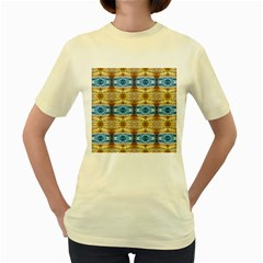 Gold And Blue Elegant Pattern Women s Yellow T Shirt