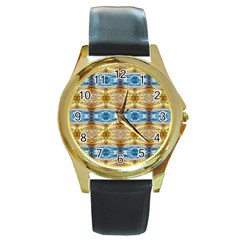 Gold And Blue Elegant Pattern Round Gold Metal Watches