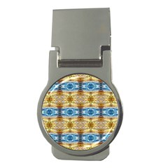 Gold And Blue Elegant Pattern Money Clips (round)