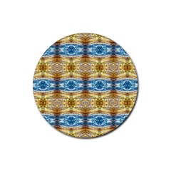 Gold And Blue Elegant Pattern Rubber Round Coaster (4 Pack)