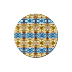 Gold And Blue Elegant Pattern Magnet 3  (round)