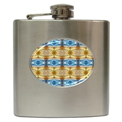 Gold And Blue Elegant Pattern Hip Flask (6 Oz) by Costasonlineshop