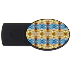 Gold And Blue Elegant Pattern Usb Flash Drive Oval (2 Gb)