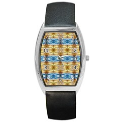 Gold And Blue Elegant Pattern Barrel Metal Watches