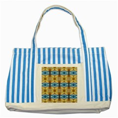 Gold And Blue Elegant Pattern Striped Blue Tote Bag  by Costasonlineshop