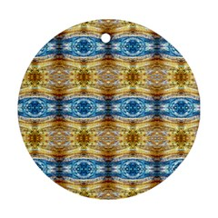 Gold And Blue Elegant Pattern Round Ornament (two Sides)