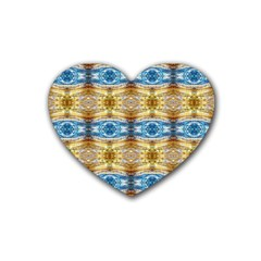 Gold And Blue Elegant Pattern Heart Coaster (4 Pack)  by Costasonlineshop