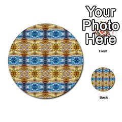 Gold And Blue Elegant Pattern Multi Purpose Cards (round)  by Costasonlineshop
