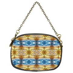 Gold And Blue Elegant Pattern Chain Purses (two Sides)