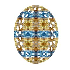 Gold And Blue Elegant Pattern Ornament (oval Filigree)