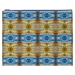 Gold And Blue Elegant Pattern Cosmetic Bag (xxxl)  by Costasonlineshop