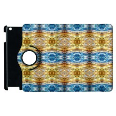 Gold And Blue Elegant Pattern Apple iPad 2 Flip 360 Case by Costasonlineshop