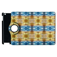 Gold And Blue Elegant Pattern Apple Ipad 3/4 Flip 360 Case by Costasonlineshop