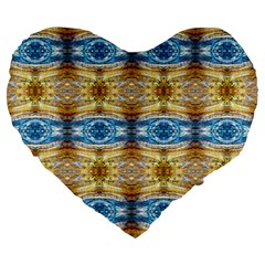 Gold And Blue Elegant Pattern Large 19  Premium Heart Shape Cushions by Costasonlineshop
