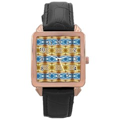 Gold And Blue Elegant Pattern Rose Gold Watches by Costasonlineshop