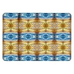 Gold And Blue Elegant Pattern Samsung Galaxy Tab 8.9  P7300 Flip Case by Costasonlineshop