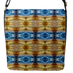 Gold And Blue Elegant Pattern Flap Messenger Bag (s)