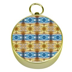 Gold And Blue Elegant Pattern Gold Compasses by Costasonlineshop
