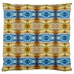 Gold And Blue Elegant Pattern Large Flano Cushion Cases (one Side)  by Costasonlineshop