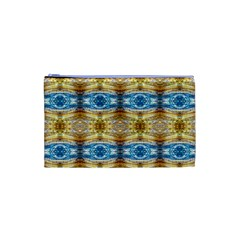 Gold And Blue Elegant Pattern Cosmetic Bag (xs) by Costasonlineshop