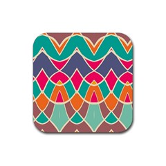 Wavy Design			rubber Square Coaster (4 Pack by LalyLauraFLM