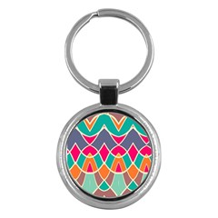 Wavy Design			key Chain (round) by LalyLauraFLM