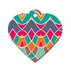 Wavy Design			dog Tag Heart (one Side) by LalyLauraFLM