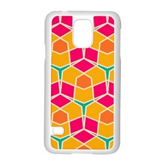 Shapes In Retro Colors Patternsamsung Galaxy S5 Case (white) by LalyLauraFLM