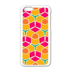 Shapes In Retro Colors Patternapple Iphone 6/6s White Enamel Case by LalyLauraFLM