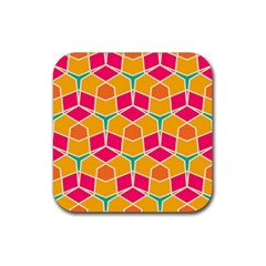 Shapes In Retro Colors Patternrubber Square Coaster (4 Pack by LalyLauraFLM