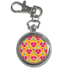 Shapes In Retro Colors Pattern			key Chain Watch by LalyLauraFLM