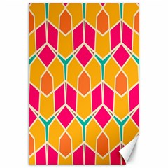 Shapes In Retro Colors Pattern			canvas 12  X 18  by LalyLauraFLM