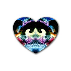 Space Cosmos Black Blue White Red Heart Coaster (4 Pack)
