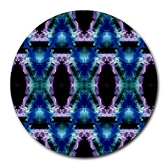Blue, Light Blue, Metallic Diamond Pattern Round Mousepads